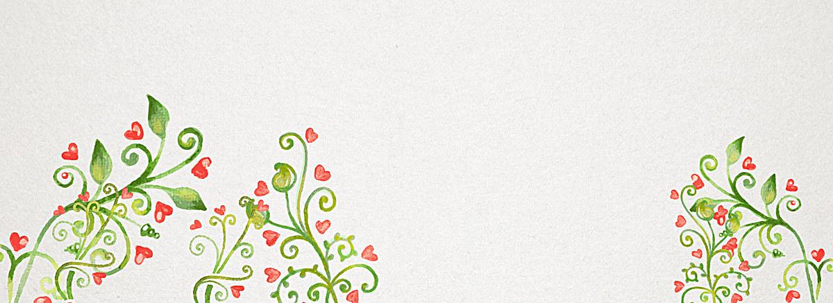 绿色小清新文艺水彩手绘花朵背景