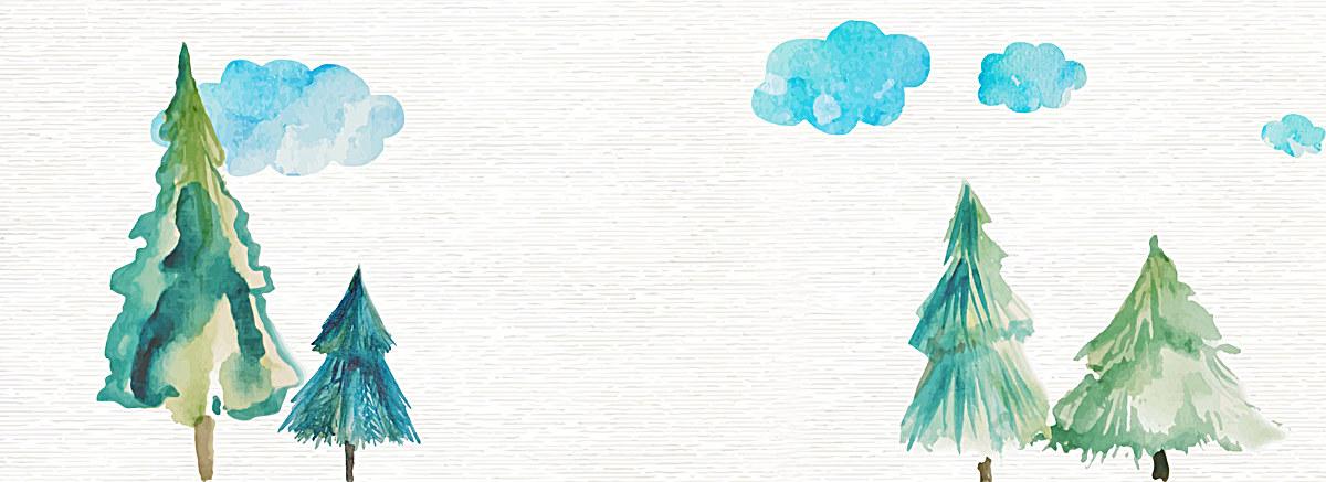 小清新文艺水彩手绘松树云朵背景