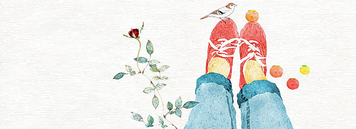 小清新文艺水彩手绘玫瑰球鞋背景