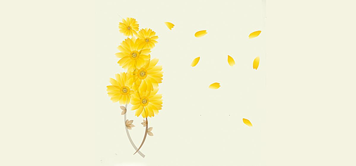 向日葵花束清新简约文艺背景图