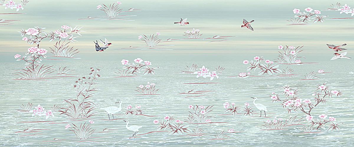 纯色花鸟手绘背景