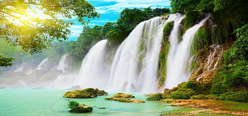 唯美的山水风景背景图片免费下载 海报banner 高清大图 千库网 图片编号3558605图片