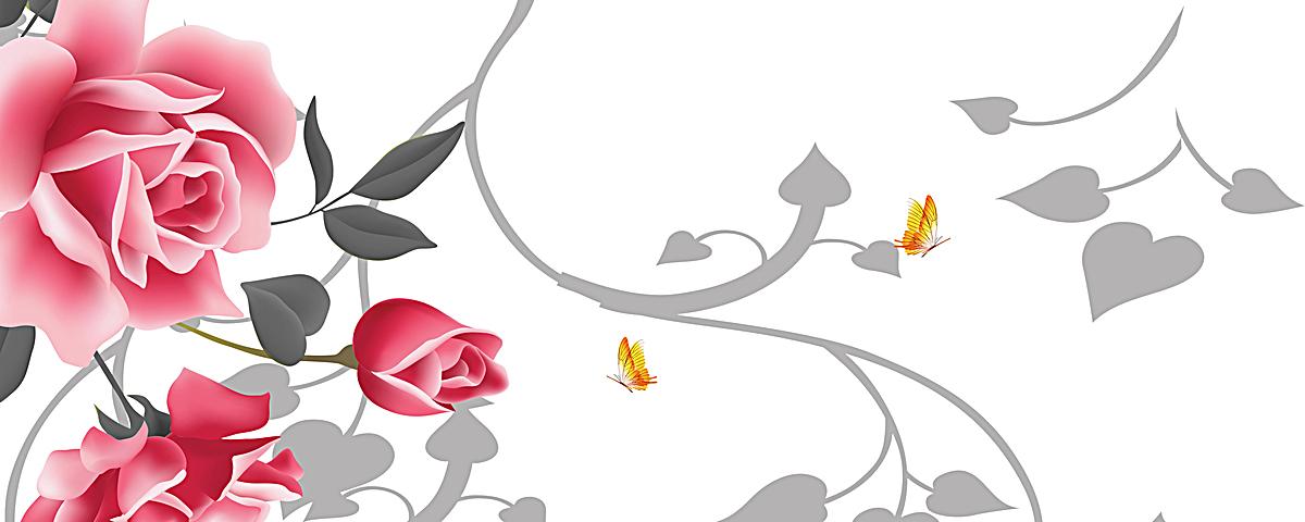 手绘玫瑰花淘宝网站背景图