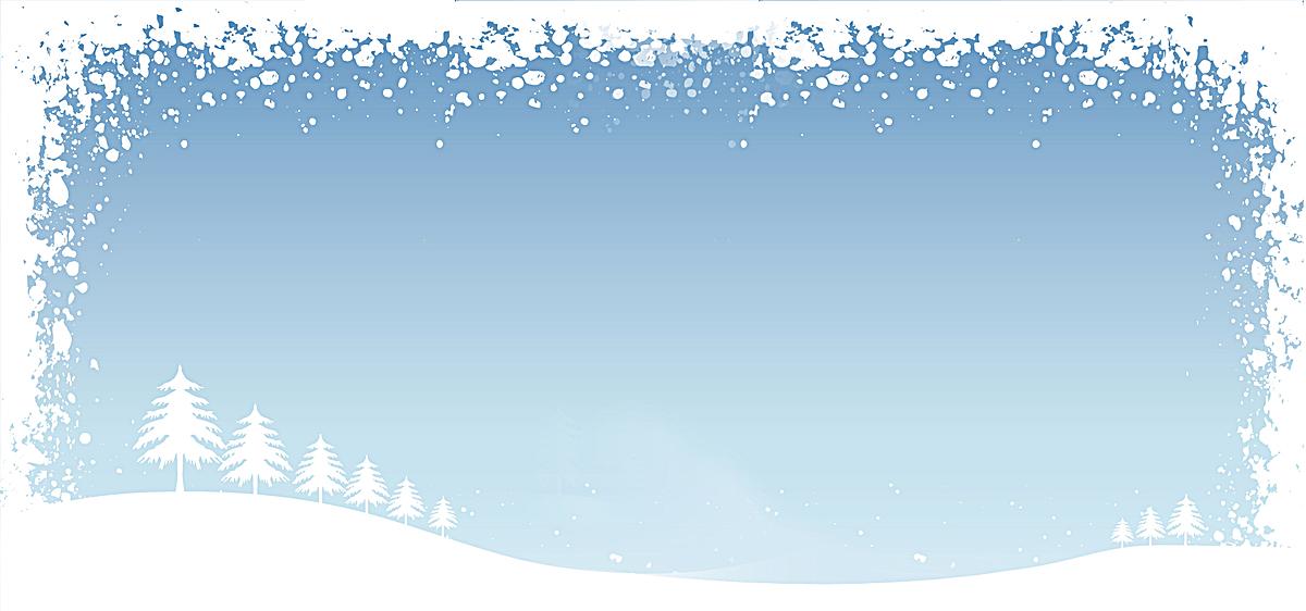 小清新蓝调 松树 雪地 喷墨边框背景