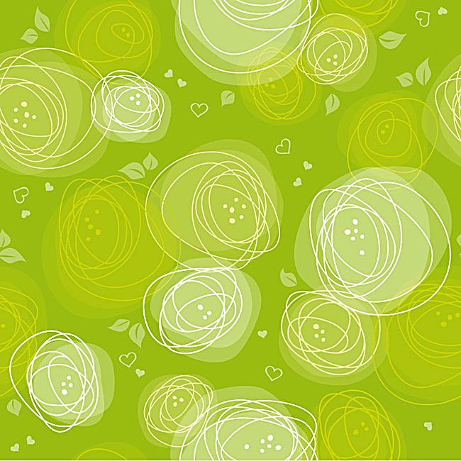 手绘花朵清新绿色背景图