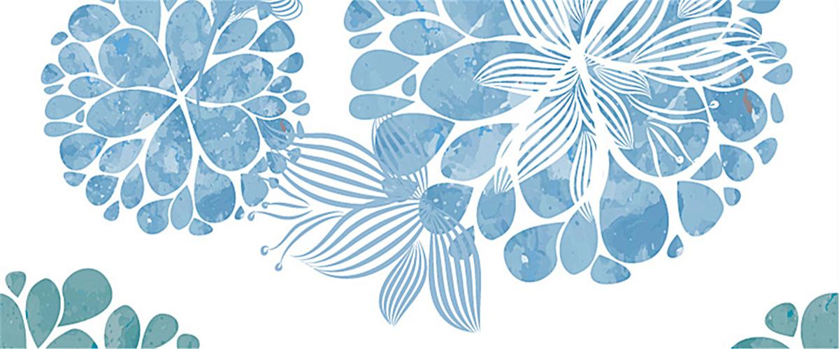 蓝色手绘雪花