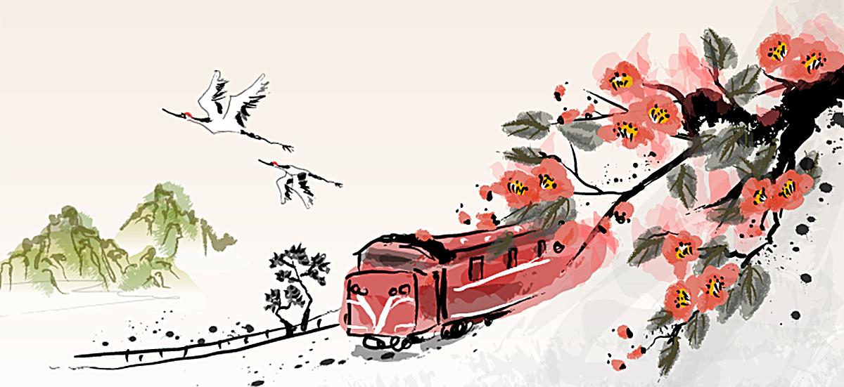 清新文艺火车梅花背景图