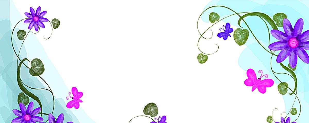对角清新小花手绘花叶子风景淘宝网站背景图