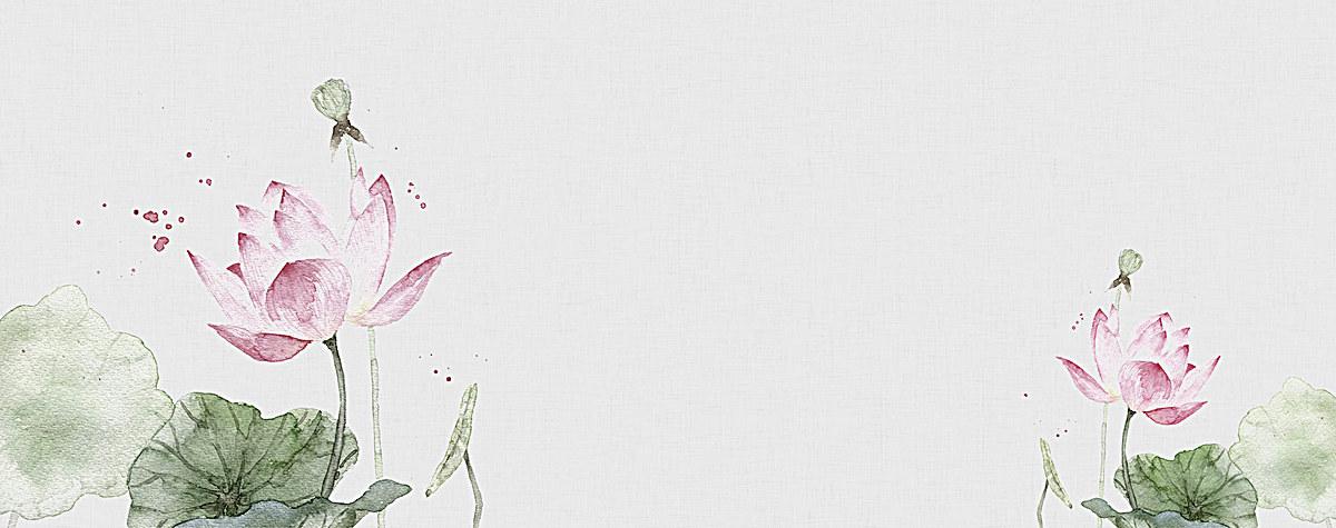 文艺清新水彩手绘花朵荷花淘宝棉麻古风女装背景