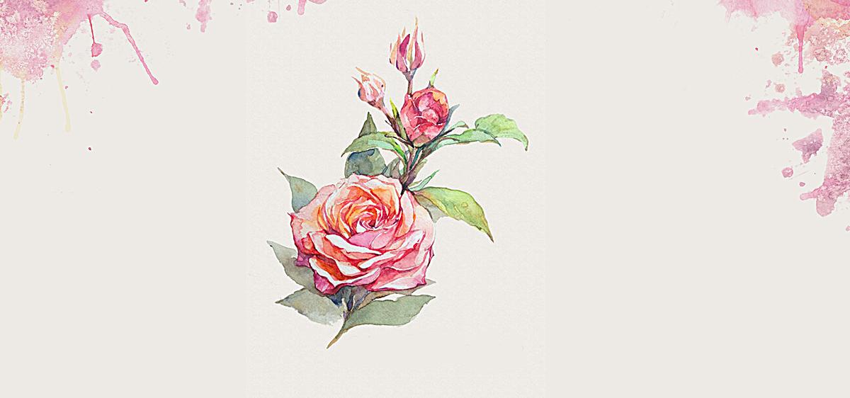 手绘玫瑰花喷墨背景