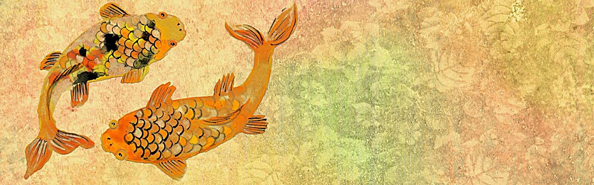 双鱼锦鲤手绘背景