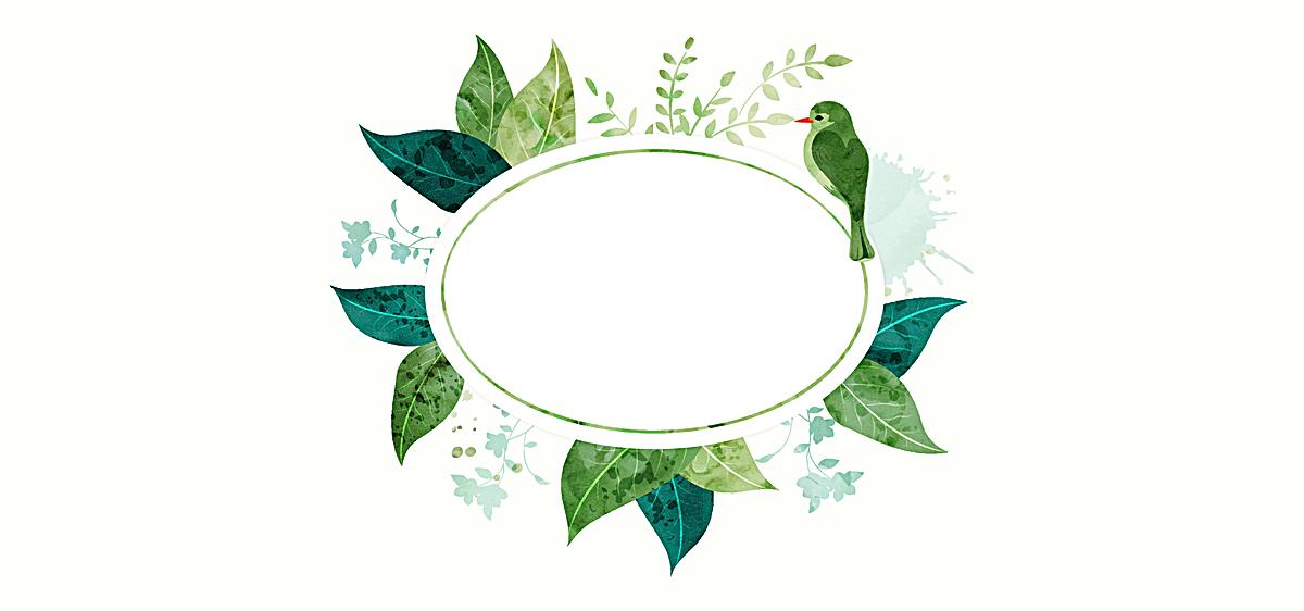 水彩树叶小鸟背景图片