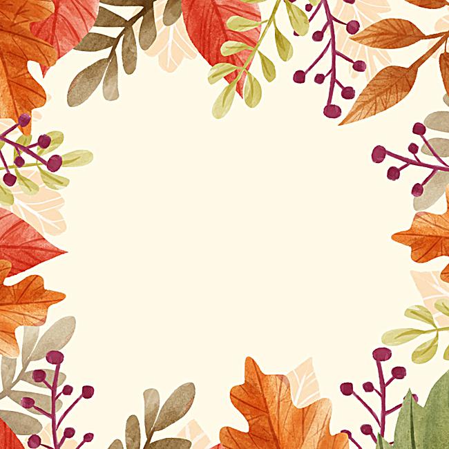 唯美手绘叶子边框背景图