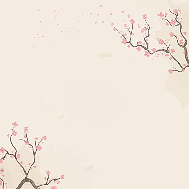 淡雅手绘梅花背景图