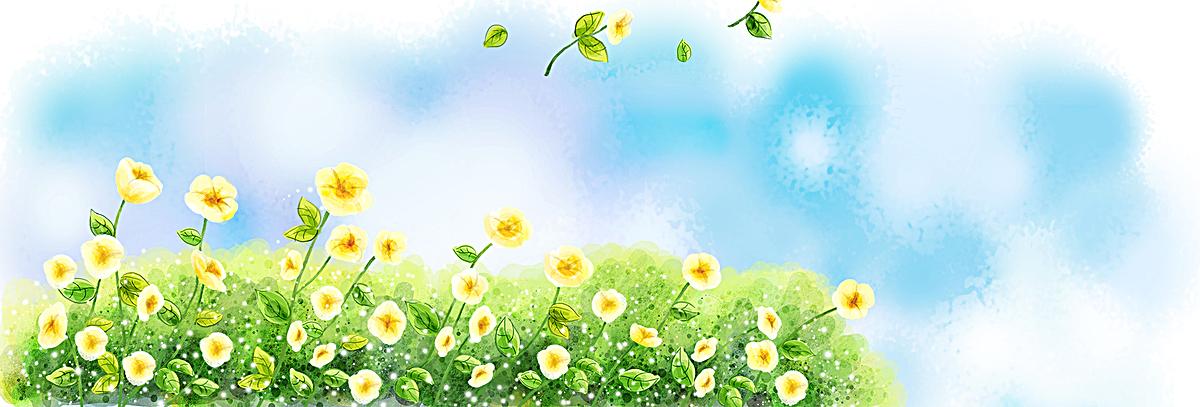 清新手绘花丛背景图
