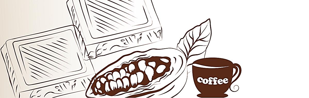 文艺复古手绘咖啡与咖啡豆