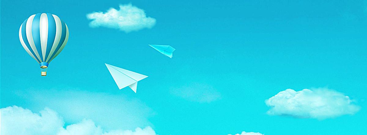 小清新蓝色天空热气球背景
