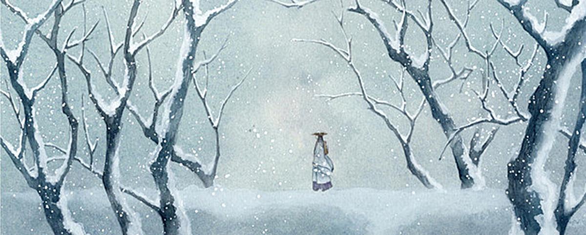 手绘古风下雪