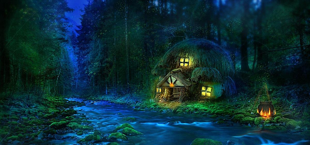 梦幻手绘森林背景图