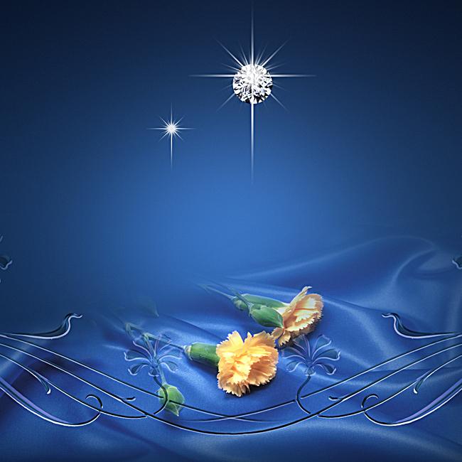 唯美蓝色钻石花朵背景图psd素材-90设计