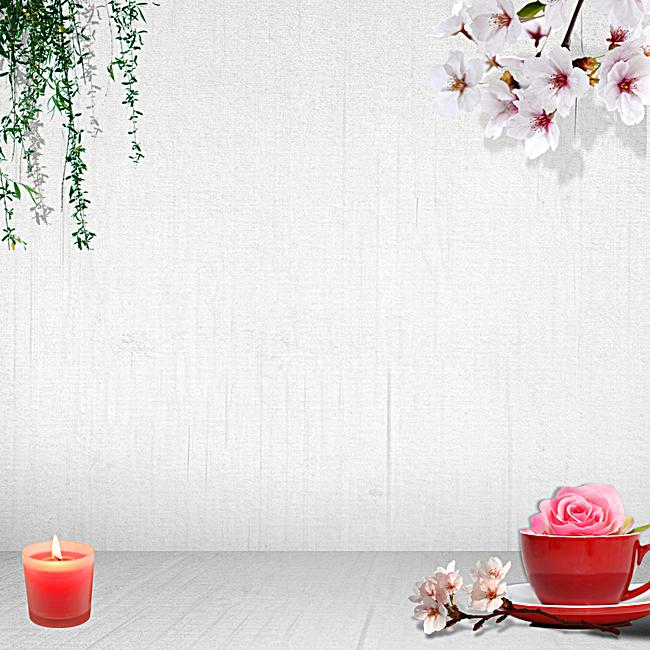简约文艺树枝花朵背景图