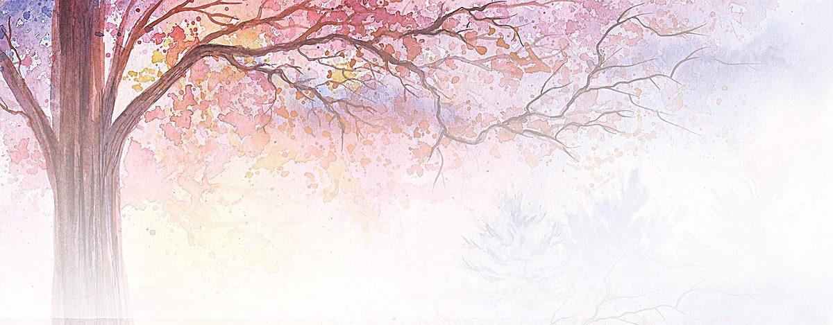 紫色渐变水彩树木背景jpg素材-90设计
