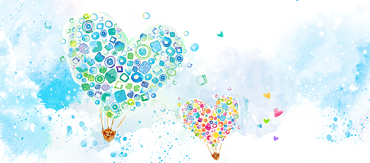 手绘水彩爱心热气球背景图