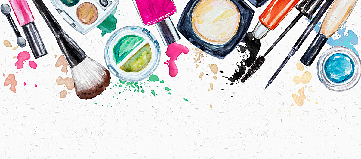 水彩手绘化妆品彩妆背景