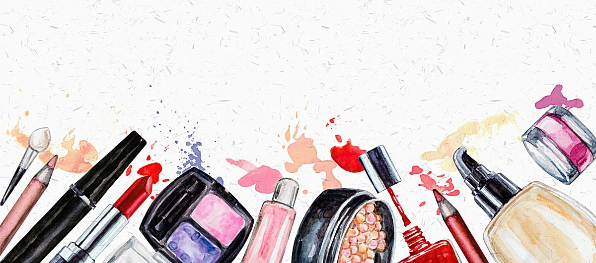 海报背景_水彩手绘化妆品彩妆背景psd素材-90设计