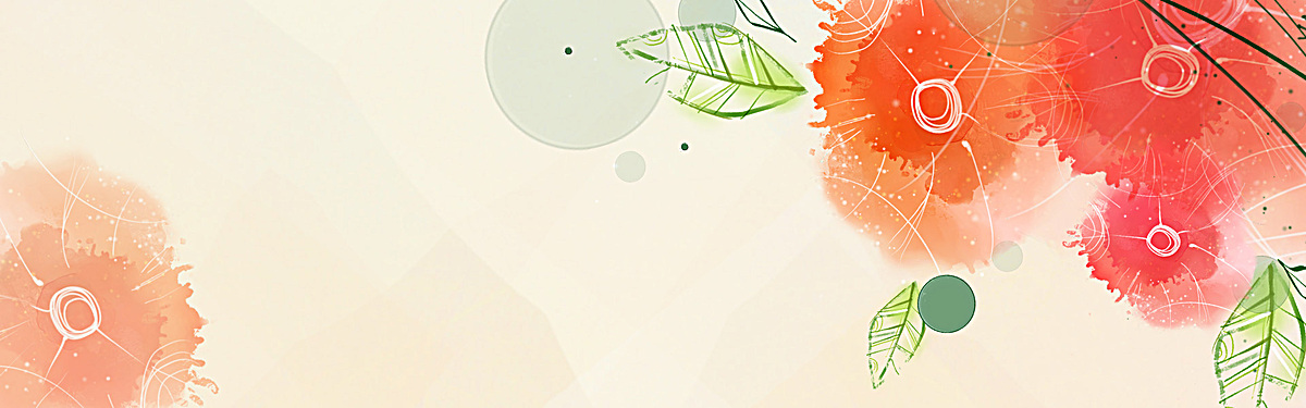 水墨画简约花朵树叶背景