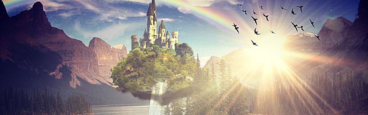 科幻复古城堡背景