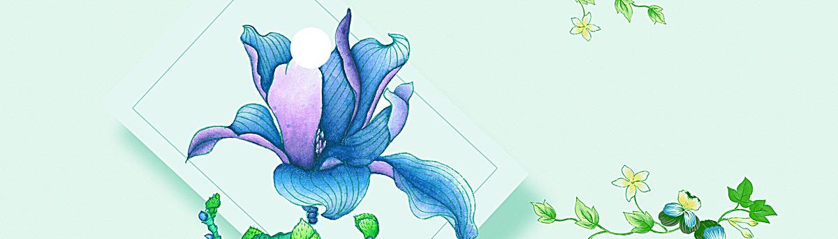 蓝色手绘唯美花卉背景