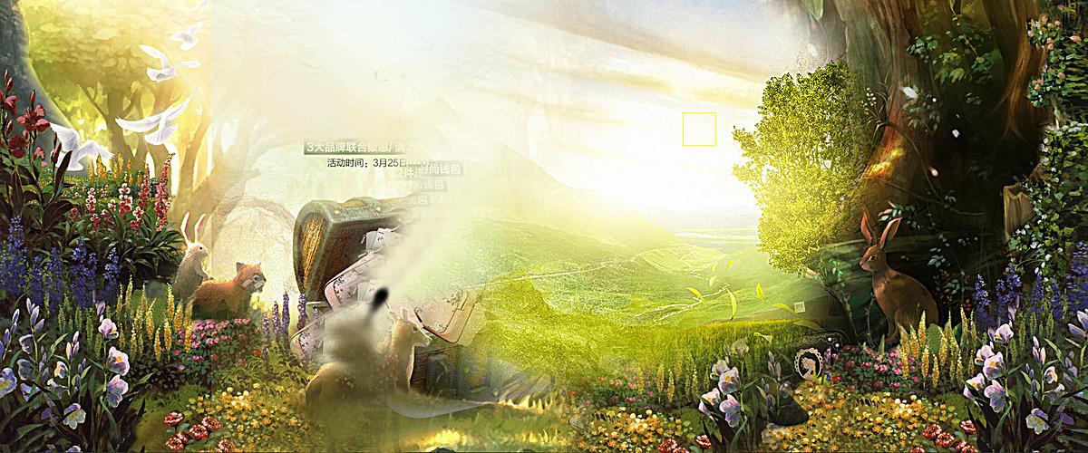 海报背景_梦幻森林背景psd素材-90设计