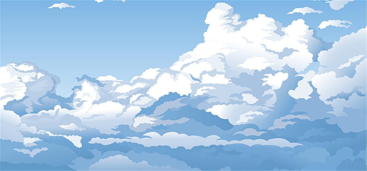 蓝天白云水彩图