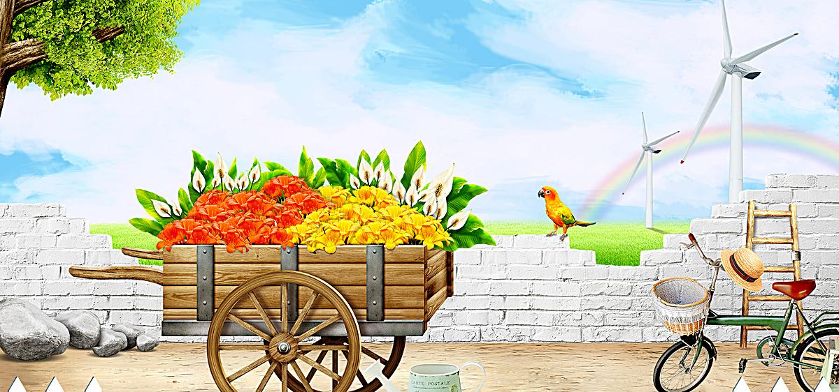 小清新质感花店手绘背景