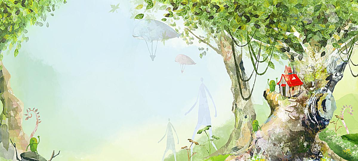 卡通 森林 童趣 清新 背景 海报banner 手绘             此素材是90