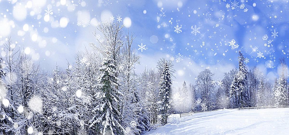 唯美雪花风景背景