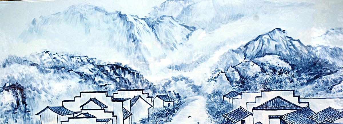手绘青花瓷城市