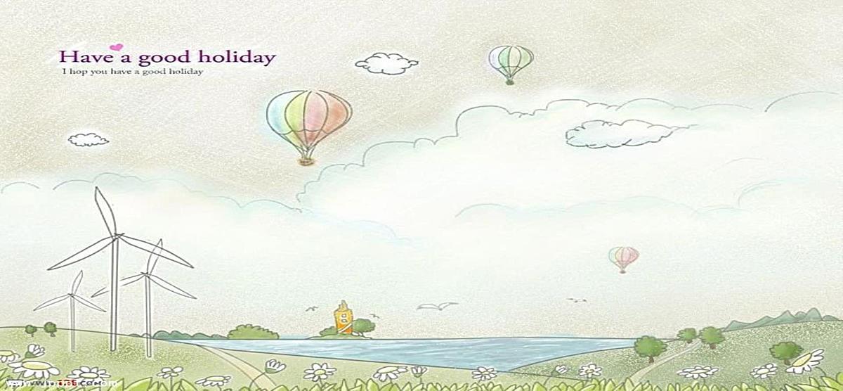 手绘天空热气球背景