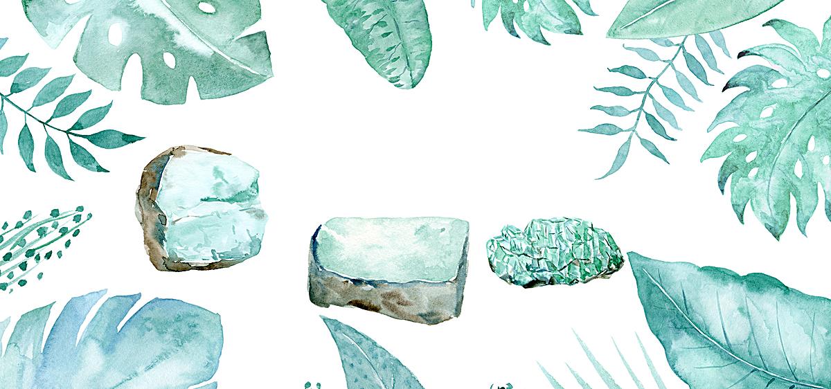 图片 > 【psd】 绿色绿植手绘背景
