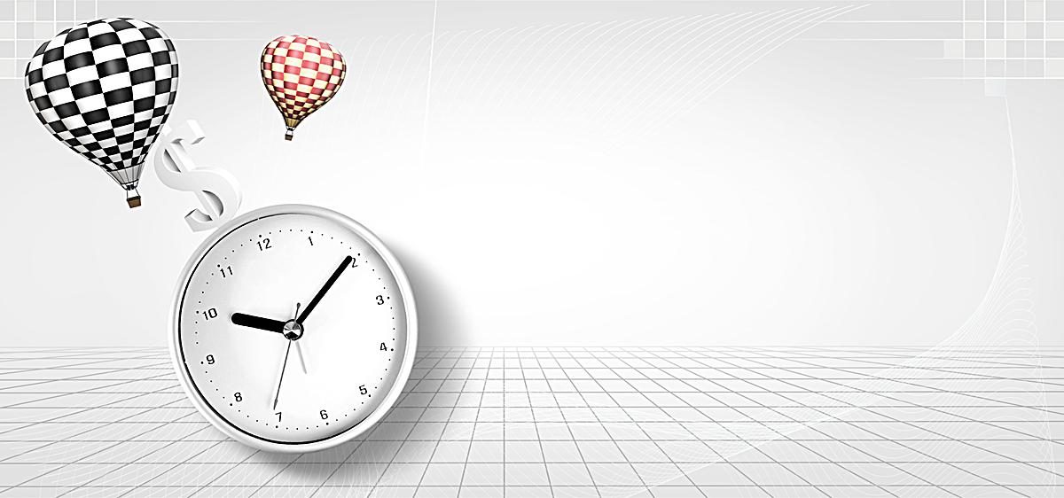 热气球钟表商务海报bannerpsd素材-90设计