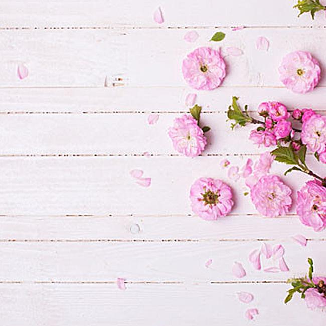 文艺木板花朵背景图