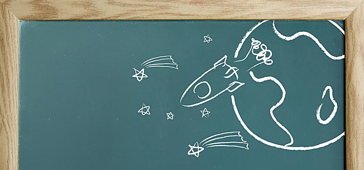 黑板粉笔五角星飞机海报bannerpsd素材-90设计