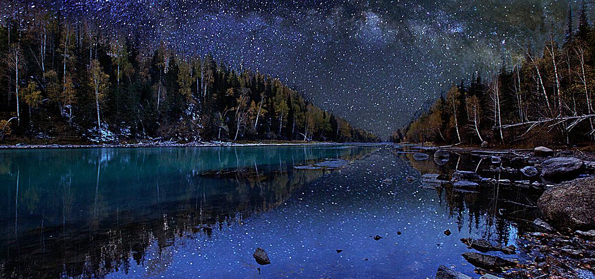 星空小河森林背景图