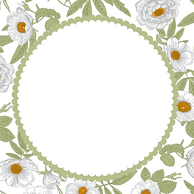 清新花纹边框背景图