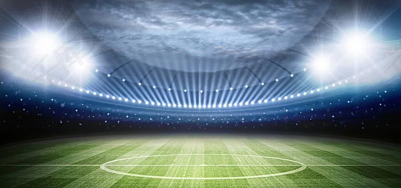灯光照射的足球场