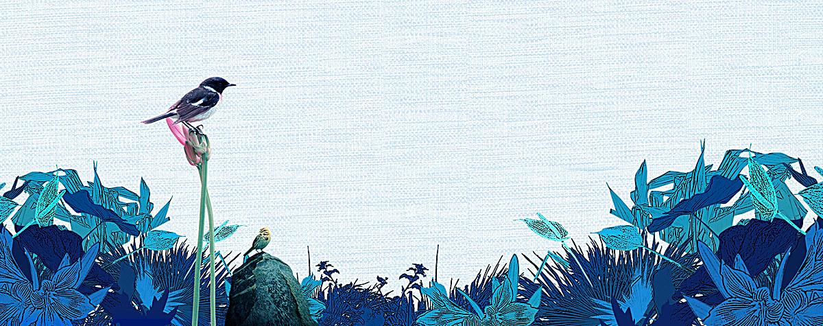 蓝色文艺手绘花海背景