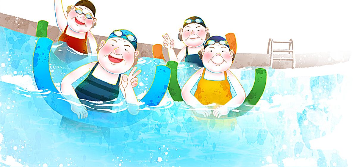 图片> 【psd】 卡通人物游泳泳池海报banner 分类:卡通/手绘 类目图片