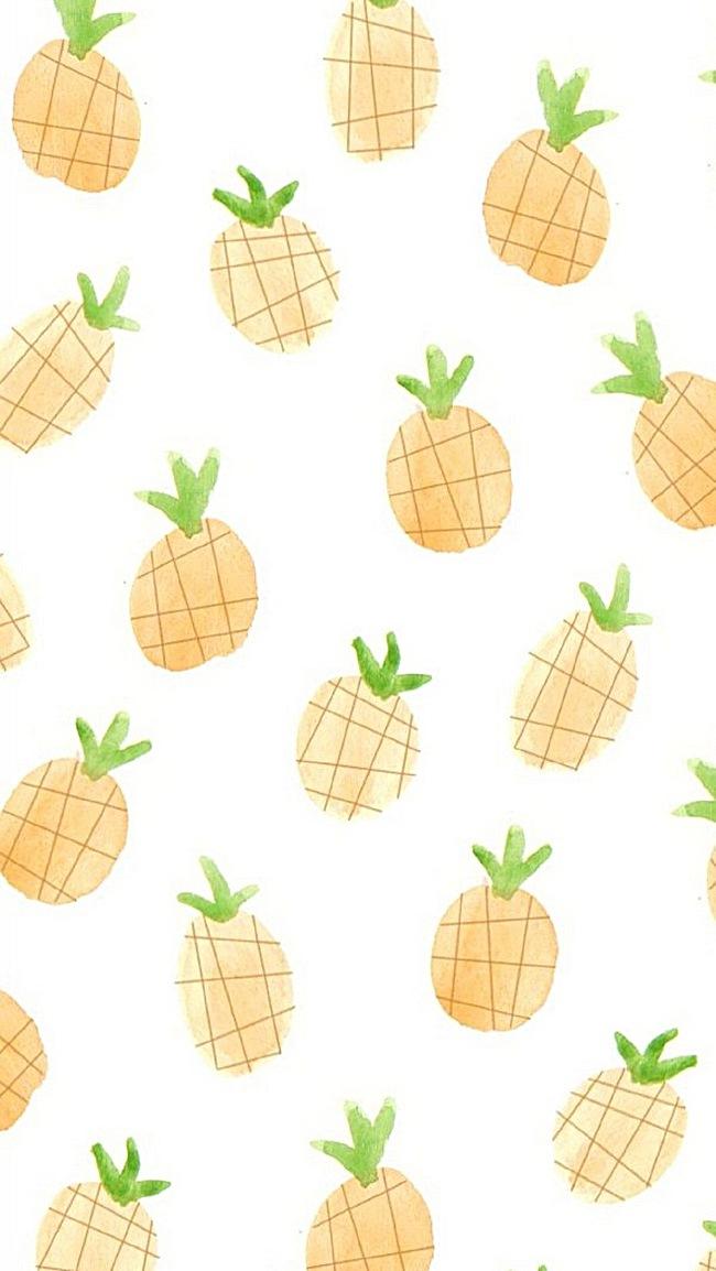 淡色菠萝手绘文艺