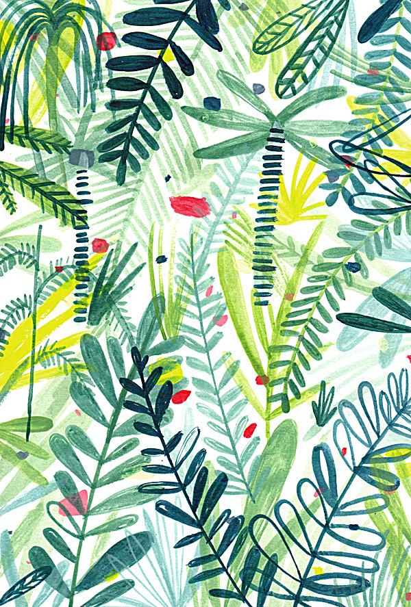 日式手绘绿叶花色小清新